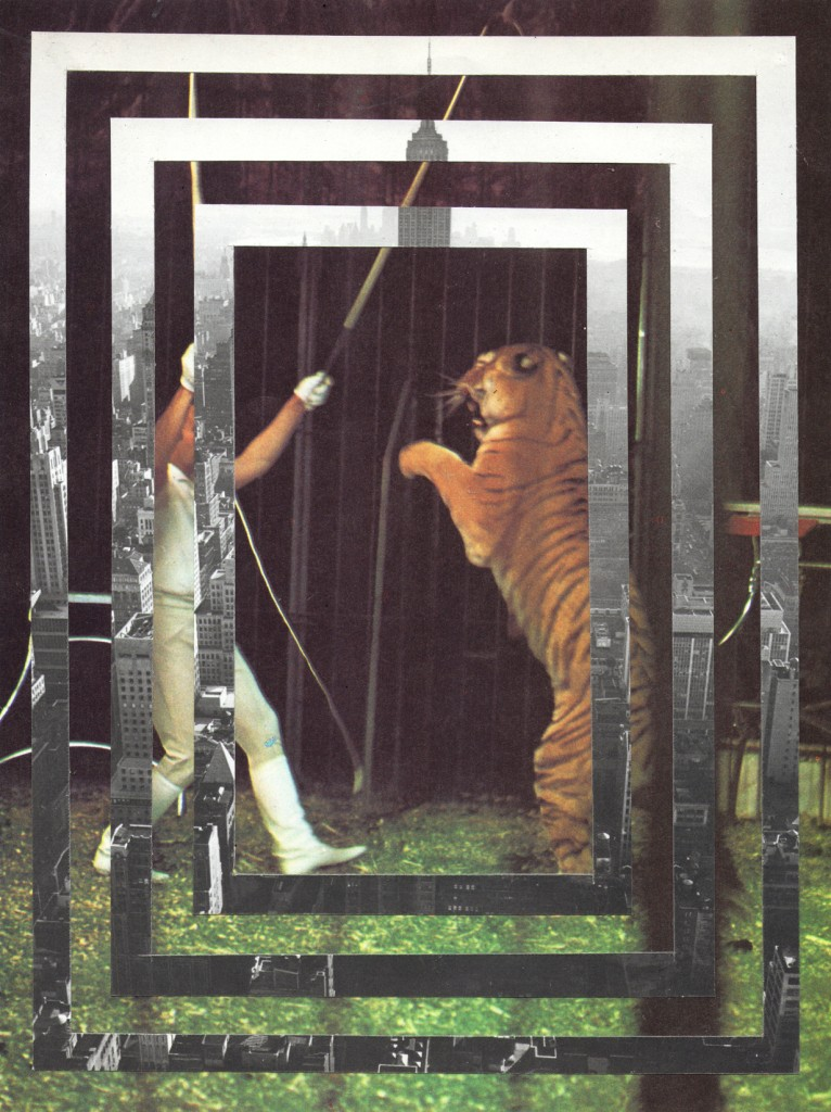 'The Struggle' Collage by Matt Reid featuring a tiger and man fighting